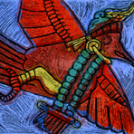 Untitled linocut of bird copied from Mayan Temple, 1975, Octavio Medellin