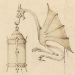 [Lantern Wall Sconce with Dragon Design], 1934, by Potter Art Iron Studios Collection