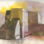 Untitled [San Francisco de Asis Mission Church], 1967, by DeForrest Judd from the Taos Sketchbook