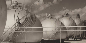 Spheroids gas storage tanks, Superior Oil Company, 1949