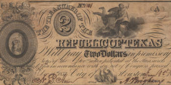 Republic of Texas $2.00 (two dollars) change note, 1838, Houston, Harris County