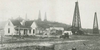 Oil derricks appear everywhere, 1919, from Ranger, Texas, and the Ranger oil fields